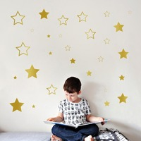 28pcs Mixed Size Easy Apply Removable Pattern Stars Wall Stickers Kids Room Environmental Friendly Decor Decal