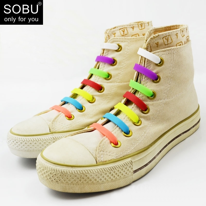 WHOLESALE SHOELACES 1100pcs/lot Elastic No Tie Silicone Shoe Laces Creative Shoelaces N021