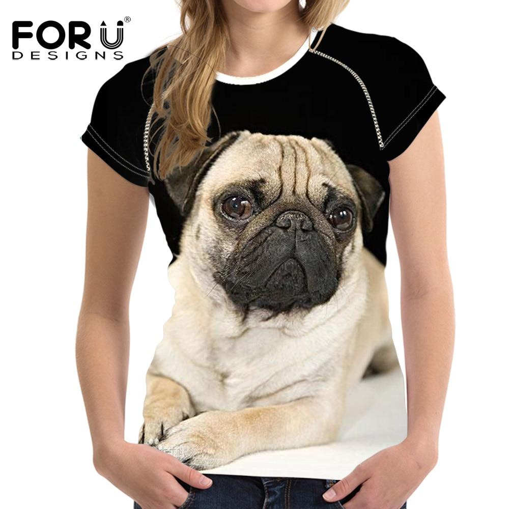 Hot Sale 3D Pug Dog Printed Womens S T Shirt Europ Summer Women Girl Funny Animal