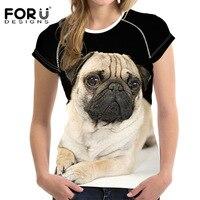 Gorąca Sprzedaż 3D Pug Dog Damskie z Nadrukiem T Shirt Europ lato Kobiety/Dziewczyny Śmieszne Zwierząt Ciekawe Nowość Tee Koszulki Z Krótkim Rękawem ubrania