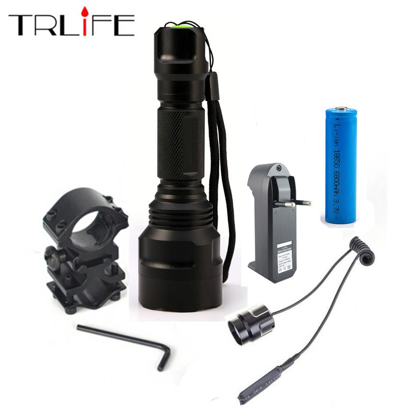 Hunting light C8 1 Mode Tactical Flashlight T6/L2 10000LUM Torch with 18650 battery+charger+Pressure Switch Mount Gun Light LampHunting light C8 1 Mode Tactical Flashlight T6/L2 10000LUM Torch with 18650 battery+charger+Pressure Switch Mount Gun Light Lamp