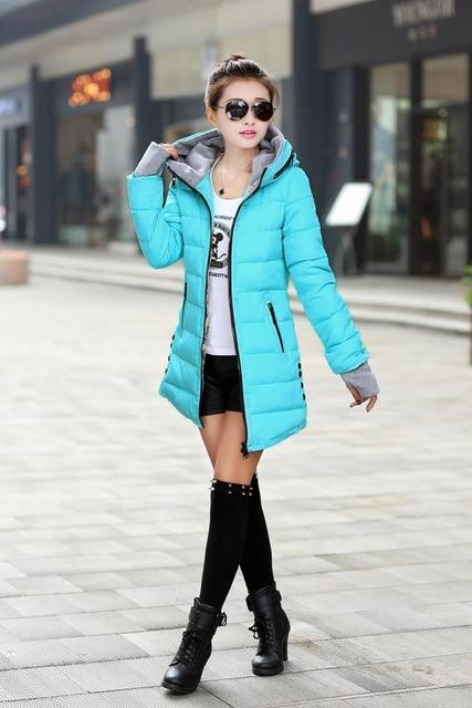 Cheap wholesale 2017 Autumn winter slim down cotton Jacket female medium-long thickening with a hood women's gloves wadded Coat