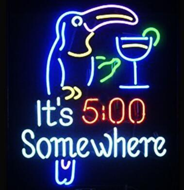 Its 5 00 clock Somewhere Glass Neon Light Sign Beer Bar