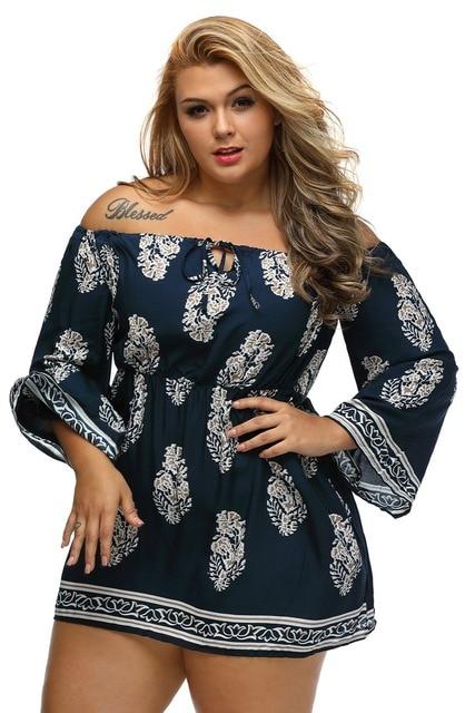 e1d494cd282 XXXL New autumn dress plus size long sleeve boho Casual Beach Wear Floral  Print Bardot Neck Black Off-shoulder Dress mini dress