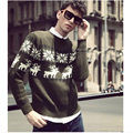 2016 Winter Warm Cotton Sweater Men Christmas Sweater men Slim Fit Pullover Fashion long Sleeve Jacquard Casual Sweaters for Men