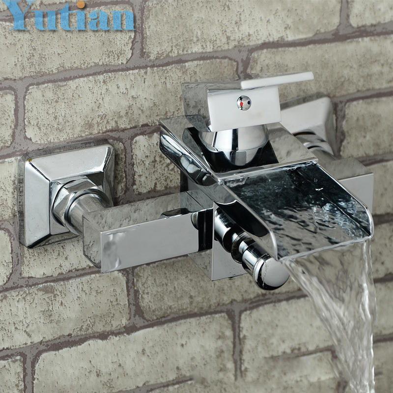Free shipping Polished Chrome Finish New Wall Mounted Waterfall Bathroom Bathtub Handheld Shower Tap Mixer Faucet  YT-5319 new us free shipping simple style golden finish bathtub faucet mixer tap shower faucet w ceramics handheld shower wall mounted