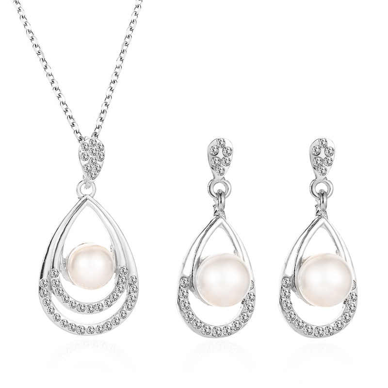 Imitation Pearl necklace Gold jewelry set for women Clear Crystal Elegant Party Gift Fashion Costume Jewelry Sets