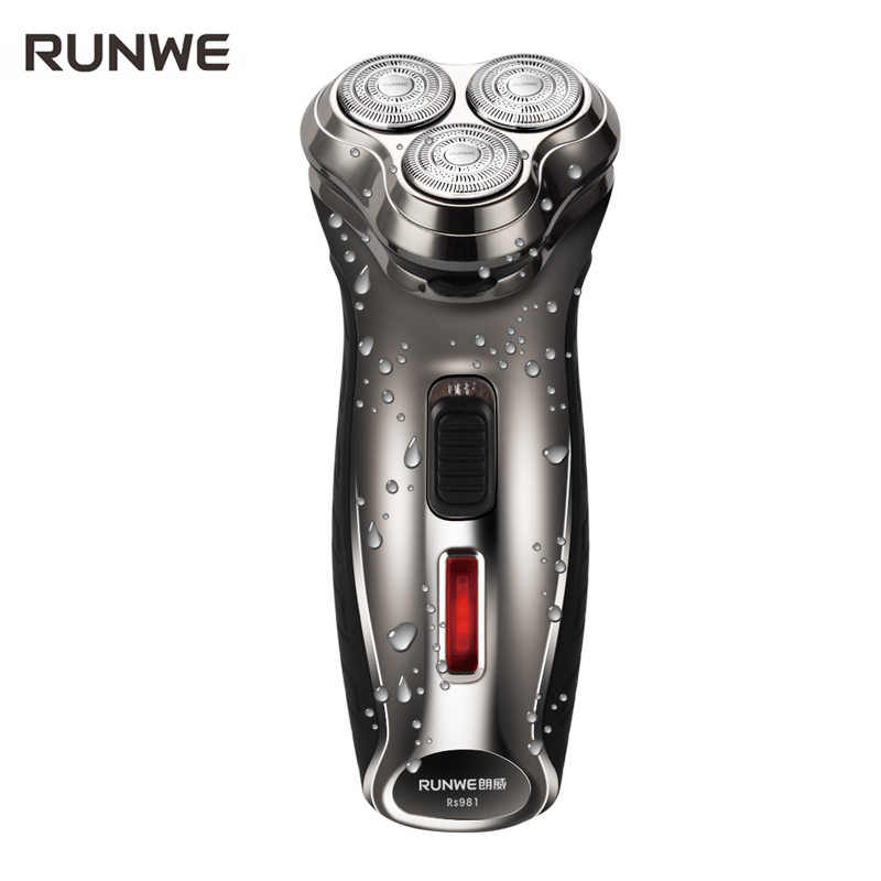 2017 New Arrival RUNWE Electric Shaver Triple track Blade Rotary Rechargeable Men Razor RS981 Male Barbeador