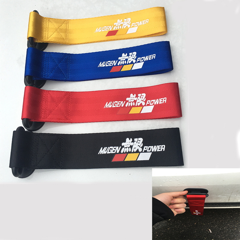 Mugen Universal Light Weight Car Styling Sticker Racing Trailer Rope Belt Hook Strap Nylon Tow Straps For Jazz Civic
