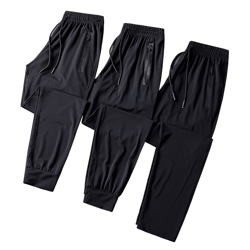 2019 Newest Summer Men's Ice Silk Long Pants Air Conditioning Trousers High Quality Beam Mouth Closing Straight Leg Pants 9XL