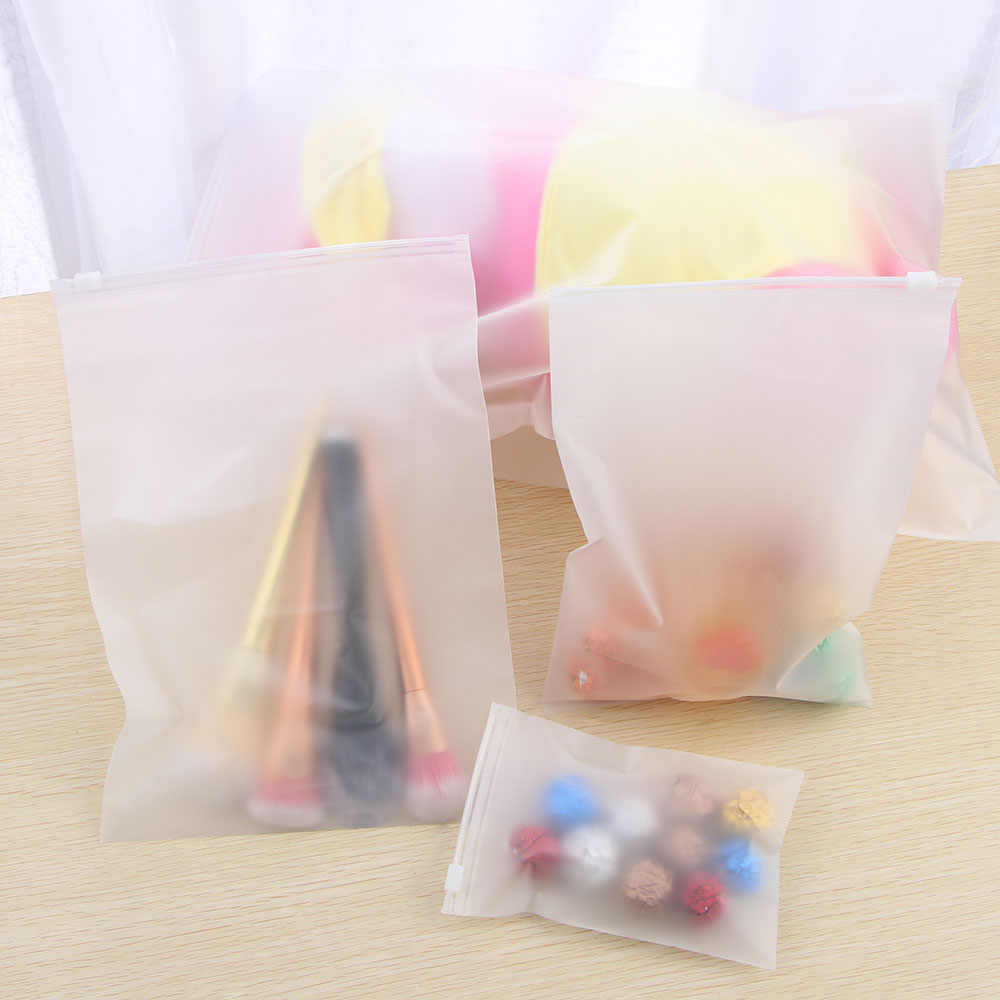 5PCS Portable Translucent Zip Lock Plastic Package Cloth Travel Storage Pouch Water-resistant Bag Zip Suitcase Cloth Organizer