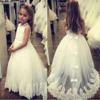 Gorgeous Flower Girl Dress For Wedding Jewel Neck Sleeveless Toddler Pageant Gowns with Appliques Bows Holy First Communion Gown