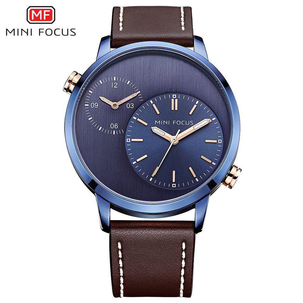 MINIFOCUS 2019 marca reloj de cuarzo deporte dos zonas horarias relojes de moda de los hombres hombre reloj Montre homme Hodinky Relogio Masculino