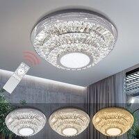 48 Вт современный светодиодный потолочный светильник для поверхностного монтажа Кристалл светодиодный лампы три цвета Круглый Освещение в