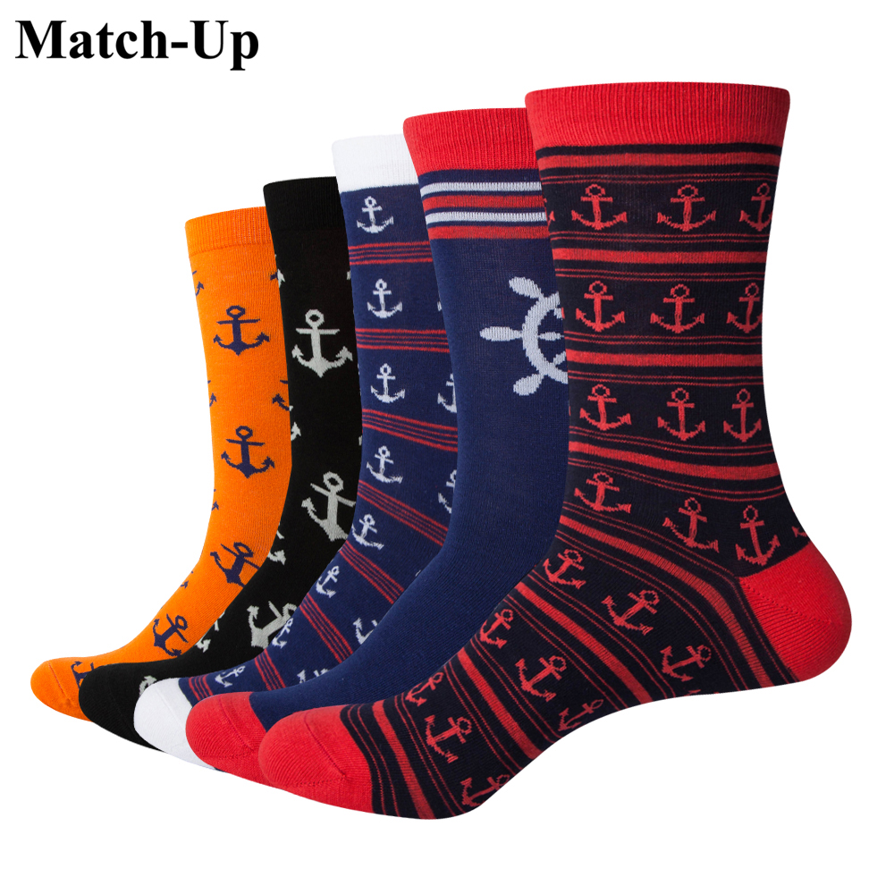 Match-up Fashion Men Playful Cartoon Cotton Socks Navy Style Socks 5 Pairs/lot Us 7.5-12 Delicious In Taste