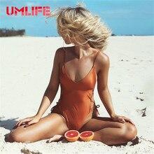 UMLIFE One Piece Swimsuits Sexy Bandage Swimwear Women Push Up Monokini Bodysuit Solid Black Orange Bathing Suit Backless Female