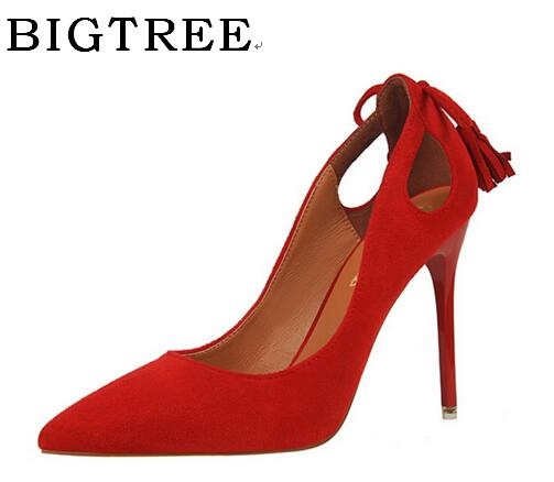 BIGTREE Spring and Autumn Pumps Women's Shoes High 10cm Korean Butterfly-knot Shallow mouth hollow High-heeled Suede Shoes bigtree spring summer women pumps sweet bow knot high heeled shoes thin pink high heel shoes hollow pointed stiletto elegant 22