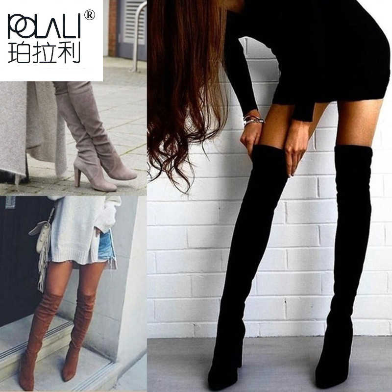 POLALI Size 34-43 2019 New Shoes Women Boots Black Over the Knee Boots Sexy Female Autumn Winter lady Thigh High Boots