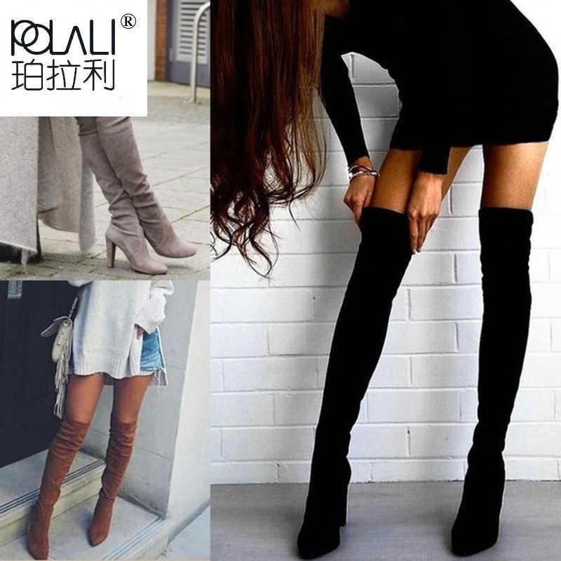 POLALI ขนาด 34-43 2019 ใหม่รองเท้าผู้หญิงรองเท้าสีดำเหนือเข่ารองเท้าบูทเซ็กซี่หญิงเลดี้ฤดูใบไม้ร่วงฤดูหนาวต้นขาสูงรองเท้า