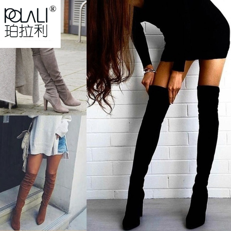 POLALI Size 34 43 2019 New Shoes Women Boots Black Over the Knee Boots Sexy Female Autumn Winter lady Thigh High Boots