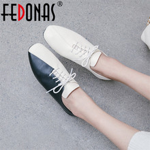 Female Shoes Shallow-Loafers Women Flats Spring Mixed-Colors Elegant Autumn Genuine-Leather