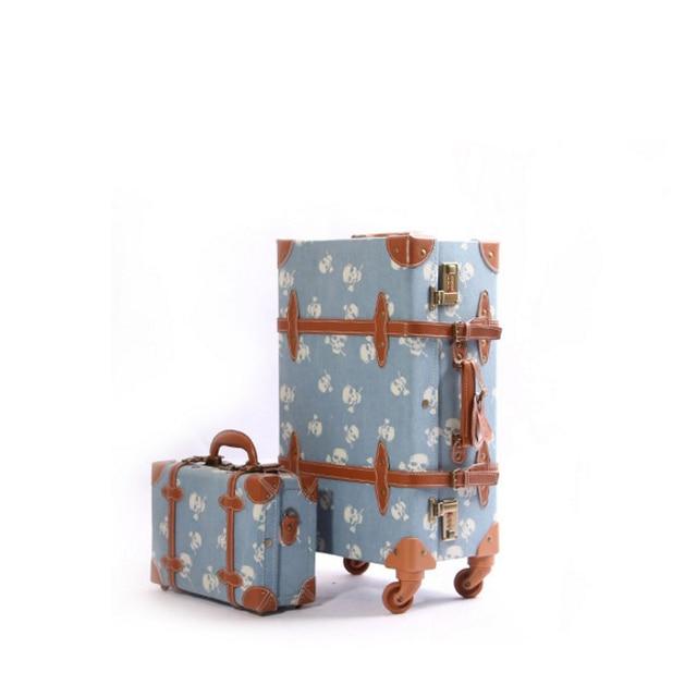 """12 """"22"""" 24 """"череп старинные чемодан bavul старинные дорожная сумка прокатки багажа spinner PU"""
