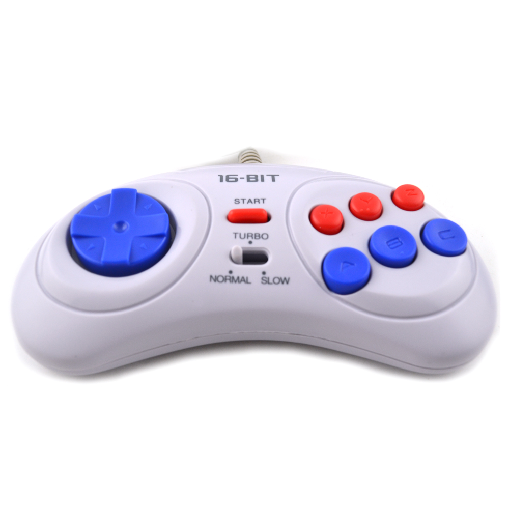 Gamepads Back To Search Resultsconsumer Electronics 16 Bit Classic Wired Game Controller For Sega Genesis 6 Button Gamepad For Sega Mega Drive Mode Fast Slow White