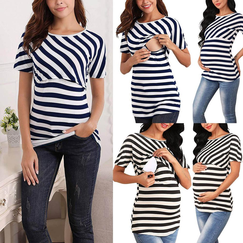 New Women's Maternity Dress Up Care Stripe Plaid Personality Breastfeeding Tops T-Shirt Women's Shirt