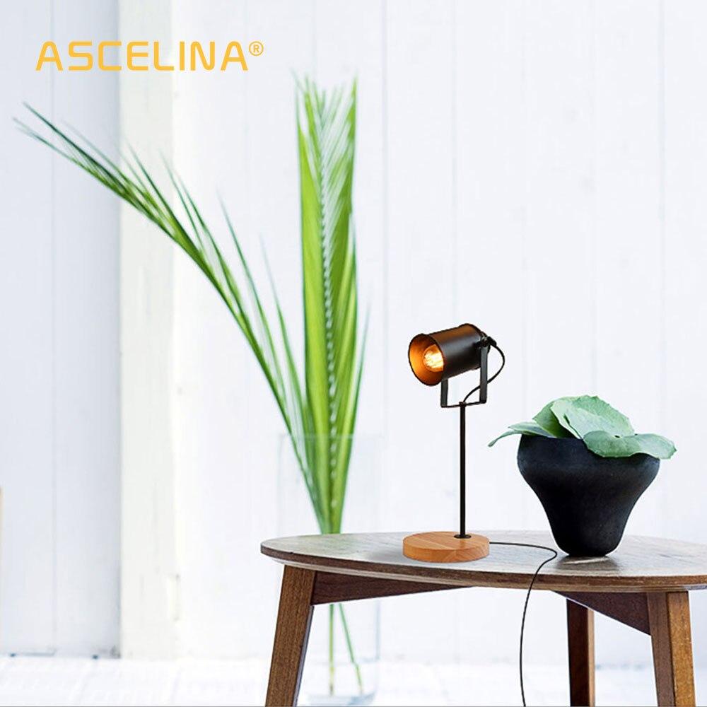 Image 2 - American Table Lamp ASCELINA Vintage Loft Wooden Led Desk Lamp Adjustable Reading Light Office Lamp Home Lighting Decor Stores-in Desk Lamps from Lights & Lighting
