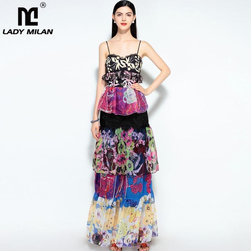 New Arrival Womens Spaghetti Straps Sweatheart Printed Tiered Ruffles Elegant Fashion Long Summer Casual Runway Dresses