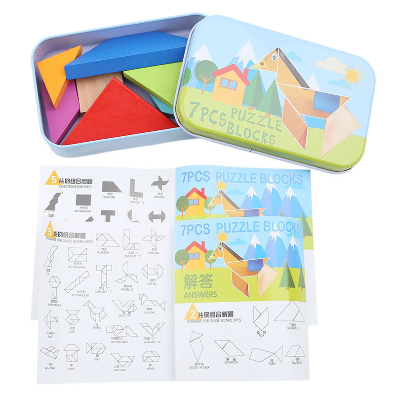 7 Piece Colorful Wooden Puzzle Tangram Square IQ Game Brain Teaser Intelligent Educational Toy For Children Gift