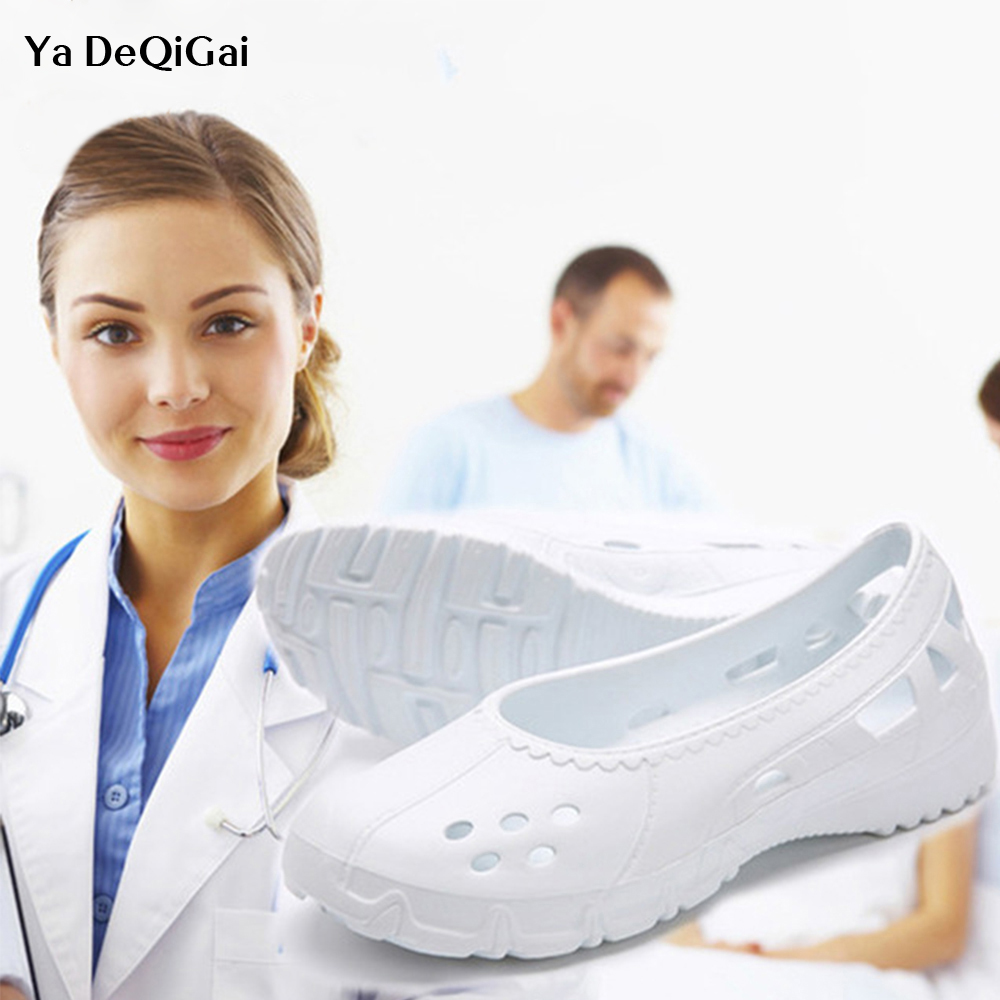 Doctor Nurse Surgical Shoes 2019 New Hollow Medical Shoes Women's Shoes Dental Hospital Lab Shoes Anti-static Autoclavable Clogs image