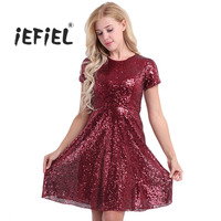 Women Ladies Vestido de festa O-Neck A-line Short Sleeve Shiny Sequins Evening Party Dresses Weeding 2018 New Years Party Dress