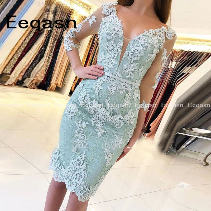 Knee Length Cocktail Dress 2020 Women Sexy Illusion 3/4 Sleeve Lace Applique Party Dresses White Gowns Short Vestido Coctel