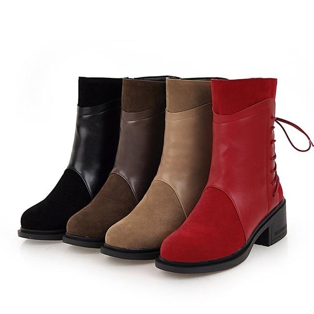 TAOFFEN Fashion Women High Heel Boots Zipper Bowknot Warm Fur Shoes Women Winter Mid Calf Boots Patchwork Footwear Size 33-43 5
