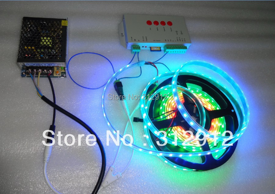 ФОТО 4m DC5V WS2812B BLACK PCB led pixel strip,IP68,60pcs WS2812B/M +T-1000S controller+5V/60W power supply