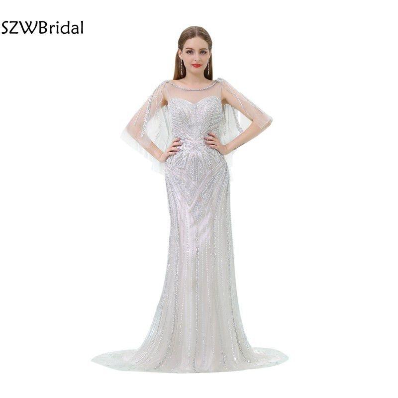 New Arrival Kaftan Mermaid   Evening     dresses   2019 Tulle Beaded Crystals Abiye   Evening   gowns Robe de soiree abendkleider