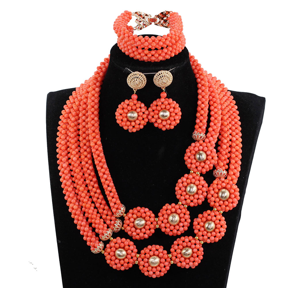 Elegant Women African Coral Beads Necklace Jewelry Set Coral Pendant Gold Beads Necklace Earrings Set Beads for Wedding BN298 chic rhinestone african plate shape pendant necklace and earrings for women