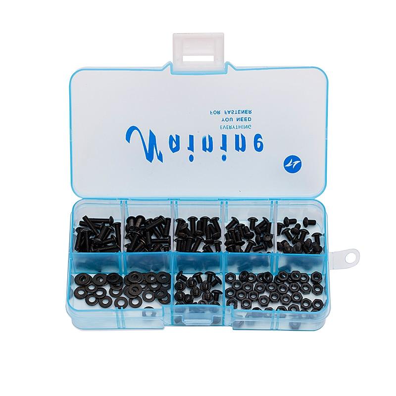 200Pcs/Box M2.5 ISO7380 Alloy Steel 10.9 Level Black Hexagon Socket Button Head Screw Furniture Mushroom Cap Hex Bolts Kit HW041 20pcs m3 6 m3 x 6mm aluminum anodized hex socket button head screw