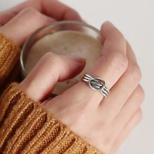 Silvology 925 Sterling Silver Vintage Three Line Twine Open Rings Creative Elegant Female Texture Fine Jewelry