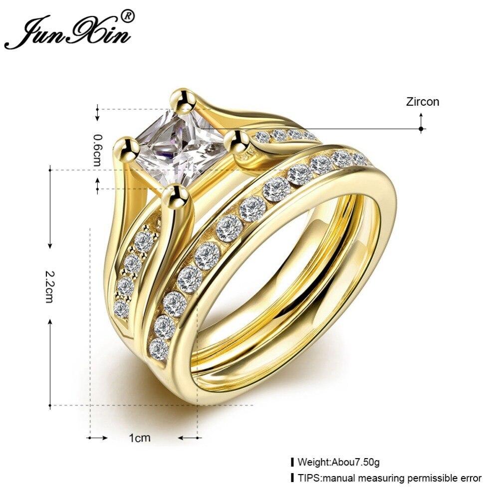 JUNXIN Geometric Design Male Female Yellow Gold Color Wedding Ring ...