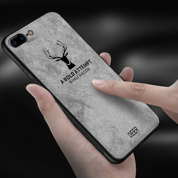 Case For iPhone Deer Cloth Texture Soft Back Cover