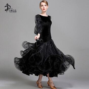 6db19f17aa Negro adulto vestidos de baile de salón de baile vals competencia estándar  vestidos Tango Foxtrot traje de la danza