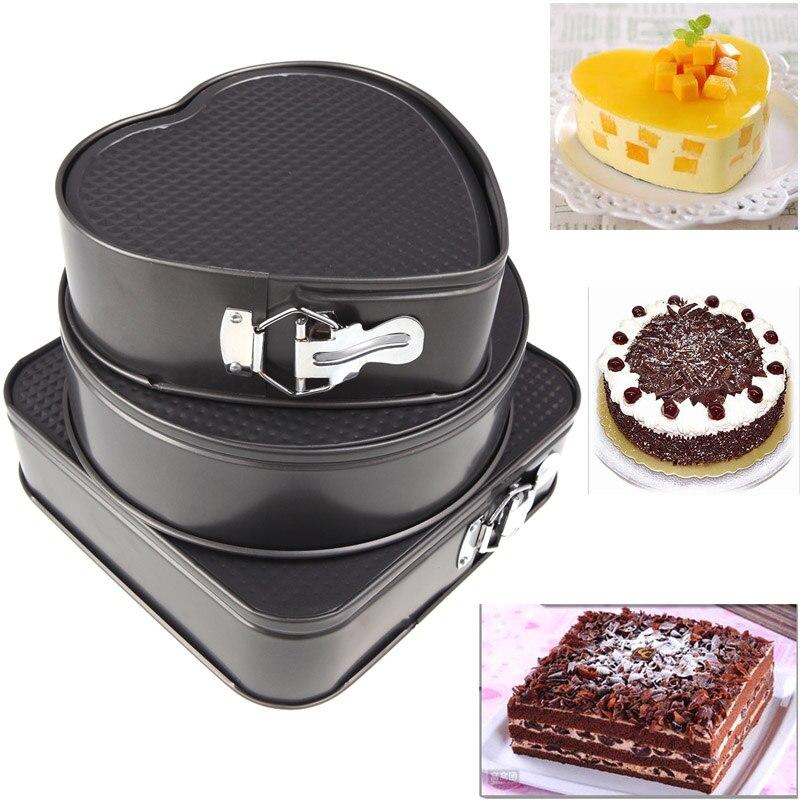 Springform 팬 세트 3 | 정사각형 / 원형 / 하트 모양의 치즈 케이크 팬 | 누출 방지 및 상단 랙 식기 세척기 안전