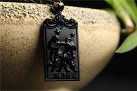 Drop shipping Natural obsidian stone masonry protection of the zodiac talisman pendant wholesale