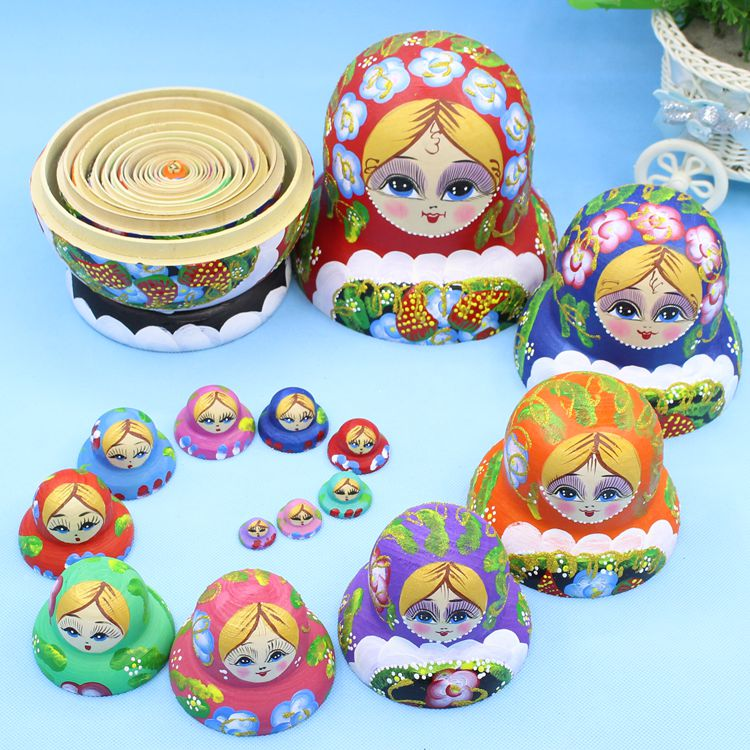 15pcs 20cm Wooden Russian Nesting Dolls Cartoon Traditional Matryoshka Dolls for Baby Kids Toy&Gift