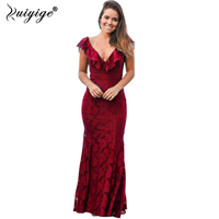 Under 20 Elegant Red Black Lace Mermaid Long Evening Dresses 2017 Prom Party Dress Robe Sexy