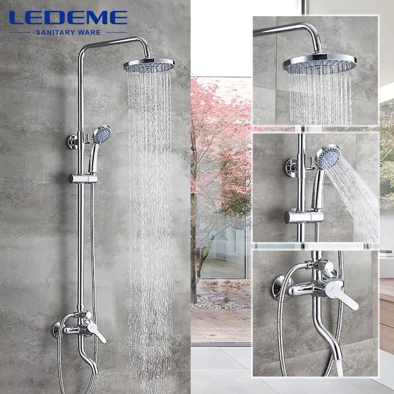 LEDEME New Arrival Bathroom Combination Basin Faucet and Shower Faucet Single Handle Cold and Hot Water Mixer L2403-1 micoe hot and cold water basin faucet mixer single handle single hole modern style chrome tap square multi function m hc203