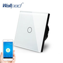 1 banda WIFI Control táctil interruptor de pared 1 banda 1 camino interruptor de pared Panel de vidrio hogar inteligente Alexa Google Home e-WeLink IOS Android(China)