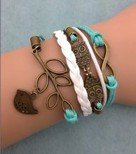 1pcs infinity bracelet, owl bracelet,tree branch and bird bracelet for christmas gift 3062 mini order 10$(China)
